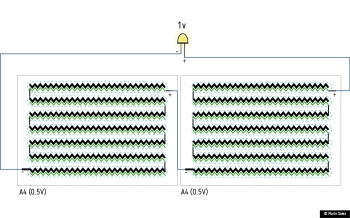 Schematic drawing showing two sheets of A4-size Printable BPV in series to power a 1V LED